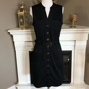 Banana Republic Black Sleeveless Cargo Shift Dress
